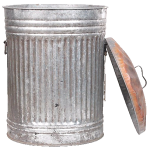 tin garbage can